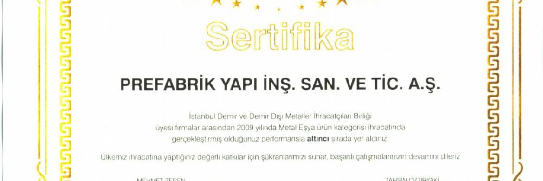 تم التسجيل على تفوق شركة بريفابريك يابي المساهمة بالتصديرات في عام 2009
