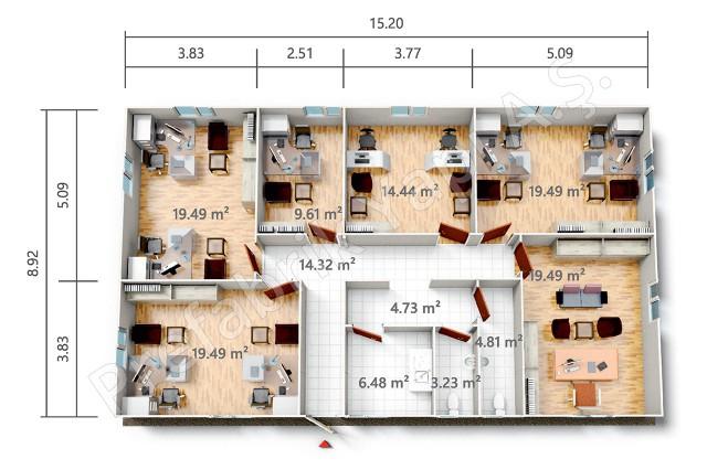 بي ر أو 136 م2 مخطط