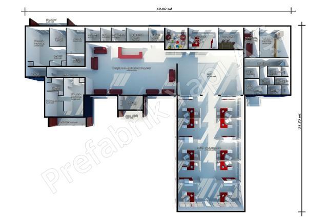 مكتب المبيعات مساحته 645 م2 السقفي
