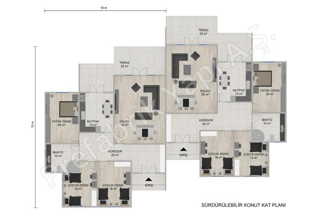 من طابق واحد المنازل شبه منفصلة الأرضي