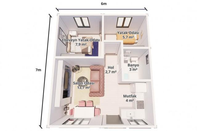 منزل الحزمة الجاهزة 42 متر مربع