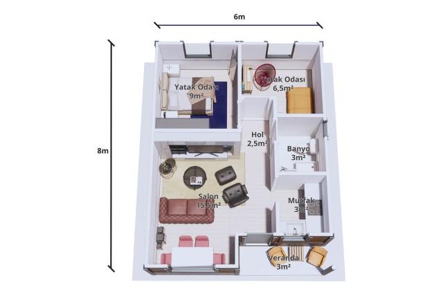 منزل الحزمة الجاهزة 48 متر مربع